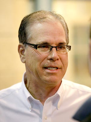 U.S. Senate candidate Mike Braun talks with some of his supporters at the Indiana Republican Party's Congress of Counties U.S. Senate Straw Poll event at the Union Station Grand Hall Saturday, Jan 13, 2018.