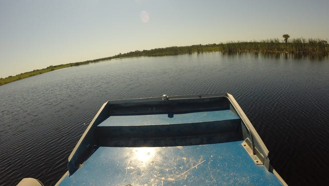 Environment Reporter Jim Waymer checks out a drought-stricken St. Johns River via airboat.