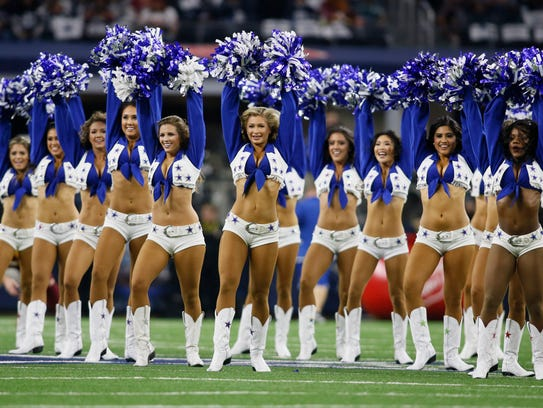 Dallas Cowboys Cheerleaders perform in Arlington, Texas