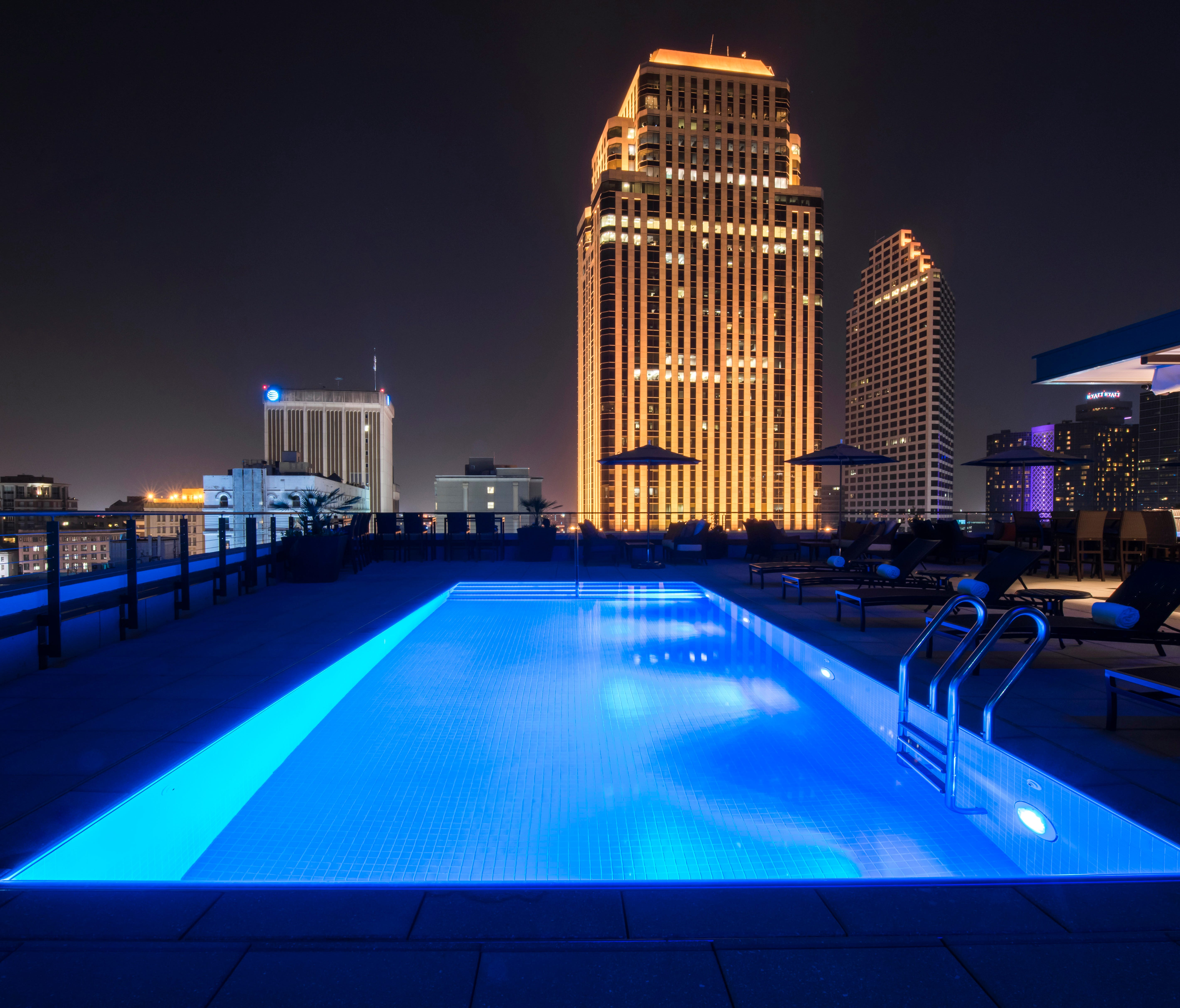 NOPSI Hotel, New Orleans features a shimmering rooftop pool and bar called Above the Grid.