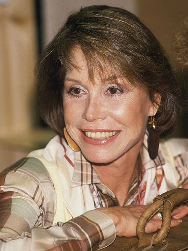 Mary Tyler Moore takes a break during rehearsal, Jan.