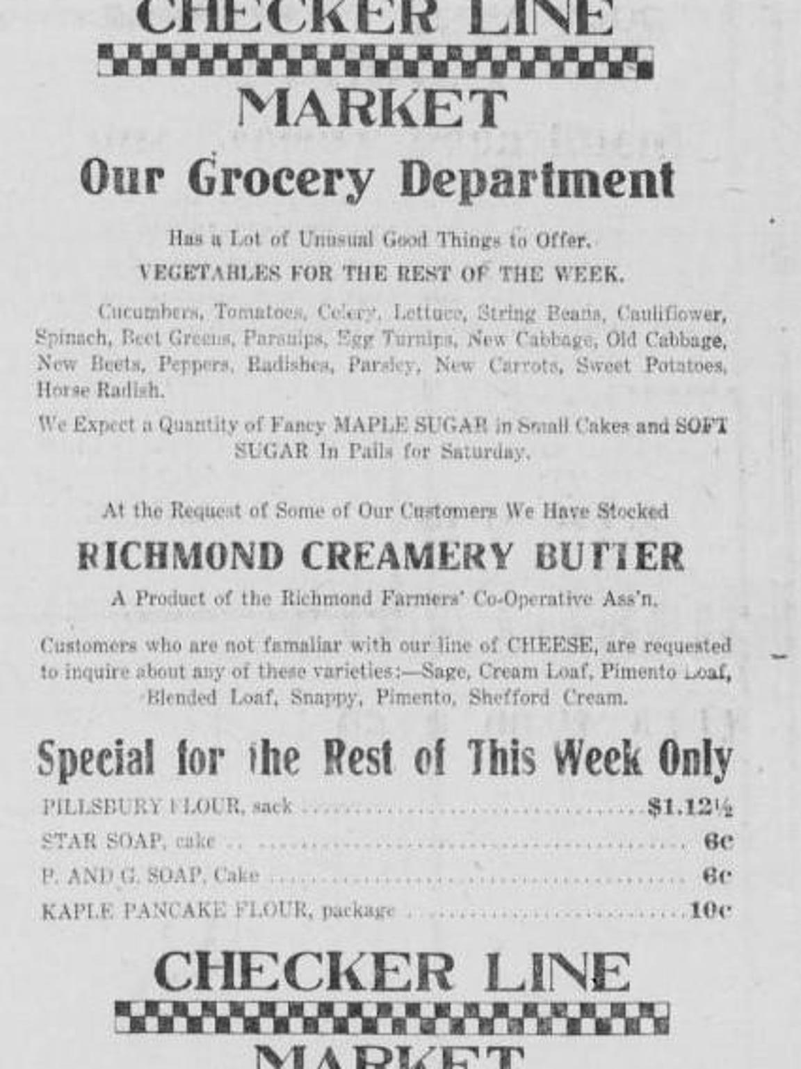 Advertisement featuring Richmond Creamery Butter from