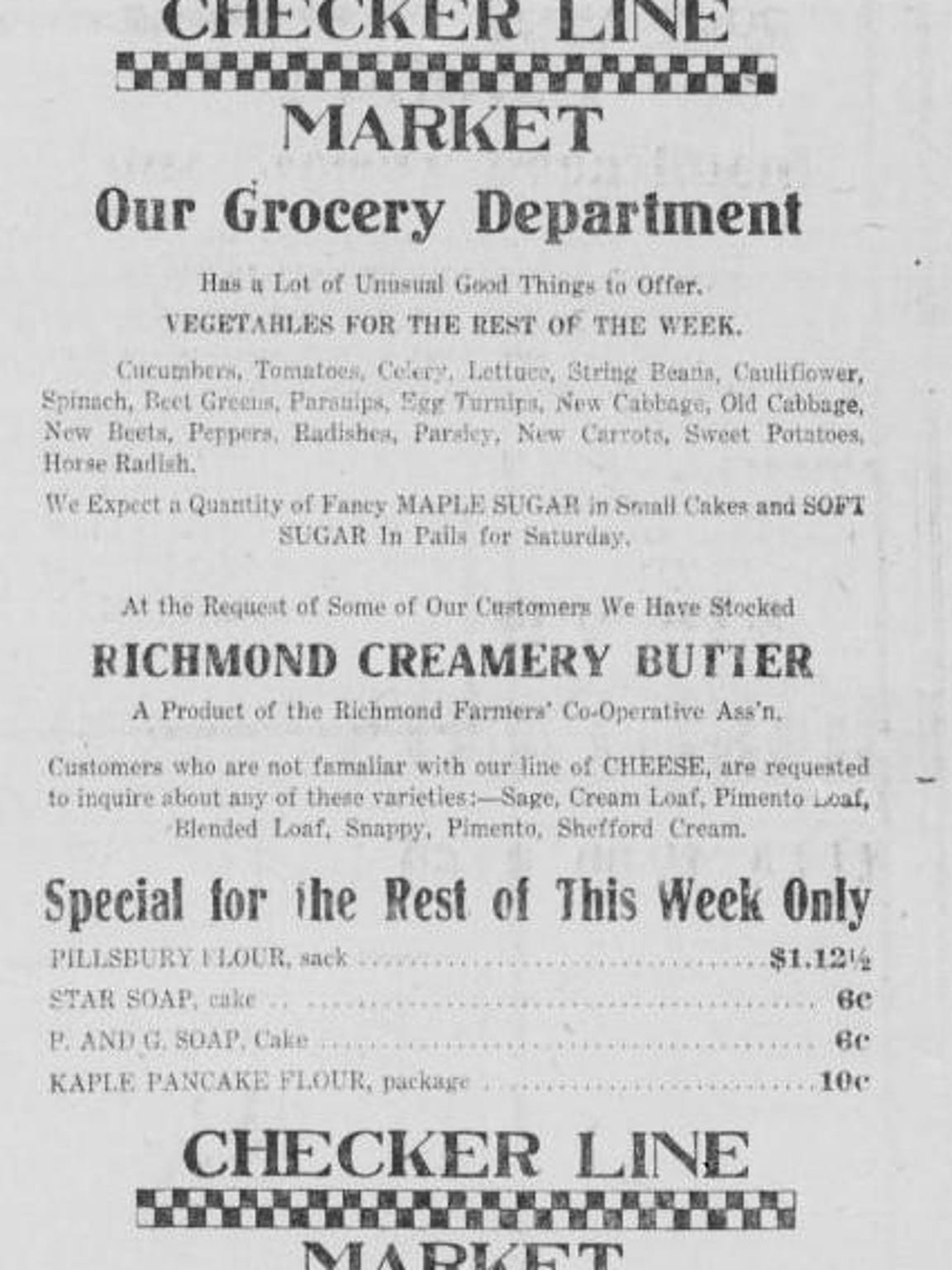 Advertisement featuring Richmond Creamery Butter from