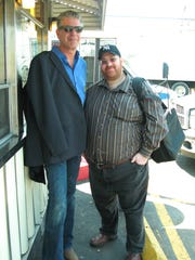 Anthony Bourdain and Jason Perlow outside White Manna in Hackensack.