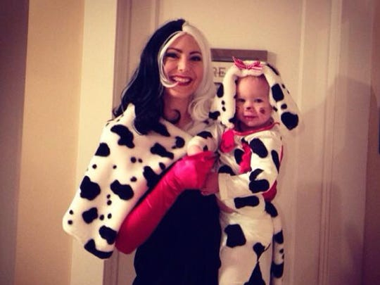 Elissa with daughter Brooklyn, 1, on Halloween.