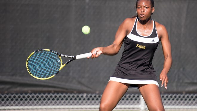 Xavier's Sha'Nel Bruins of Colfax hits a forehand shot during her winning quarterfinal match Friday morning at the HBCU National Championships.