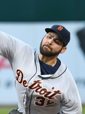 Tigers pitcher Michael Fulmer throws in the bottom of the first inning Friday in Oakland, Calif.