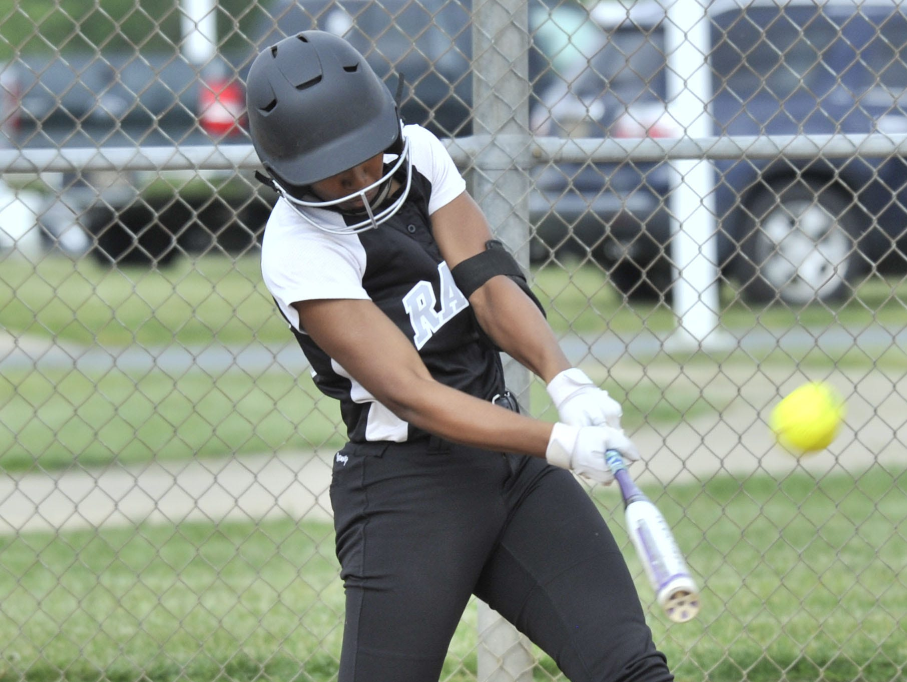 Jakayla Sample of Sussex Tech connects on a pitch and sends it over the left-center field fence for a three-run home against Smyrna.