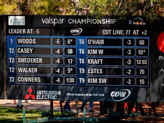 FILE - In this March 9, 2018, file photo, Tiger Woods is atop the leaderboard during the second round of the Valspar Championship golf tournament, in Palm Harbor, Fla. The buzz following Woods since his return from a fourth back surgery has been bigger and louder than when he was No. 1 in the world, piling up 79 victories on the PGA Tour and 14 majors.  (AP Photo/Mike Carlson, File)