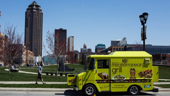 Karam's Mediterranean Grill food truck sits at the Pappajohn Sculpture Park serving lunch on Wednesday, April 13, 2016 in Des Moines.