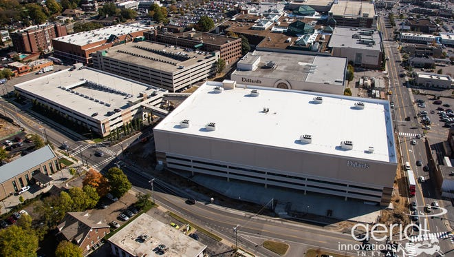 An aerial view shows the new Dillard's in relation to the existing Dillards at the Mall at Green Hills.