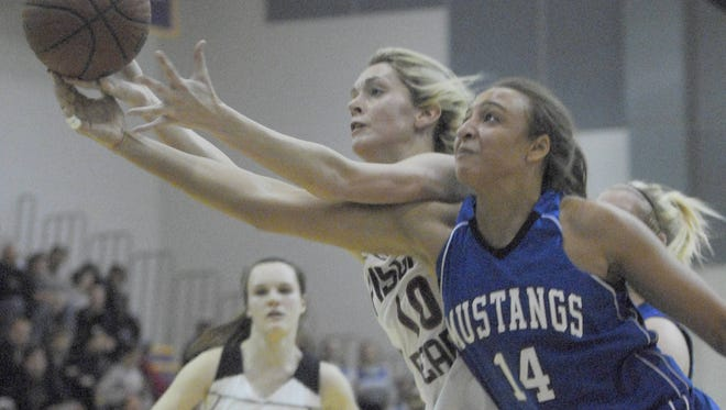 Smoky Mountain's Ashley Robinson, right, helped lead the Smoky Mountain girls to a NCHSAA 2-A basketball championship in 2007.