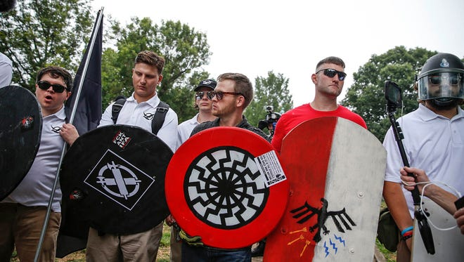 White nationalists protest in Charlottesville, Va., on August 12, 2017.