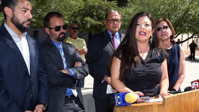 Members of El Paso's state delegation state Reps. Cesar Blanco, Joe Moody, Sen. Jose Rodriguez and Reps. Mary Gonzalez and Lina Ortega at a news conference in Downtown El Paso in 2018.