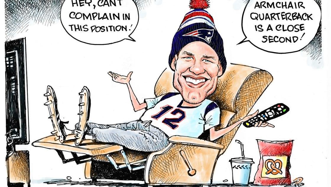 Today S Cartoon Tom Brady Armchair Qb