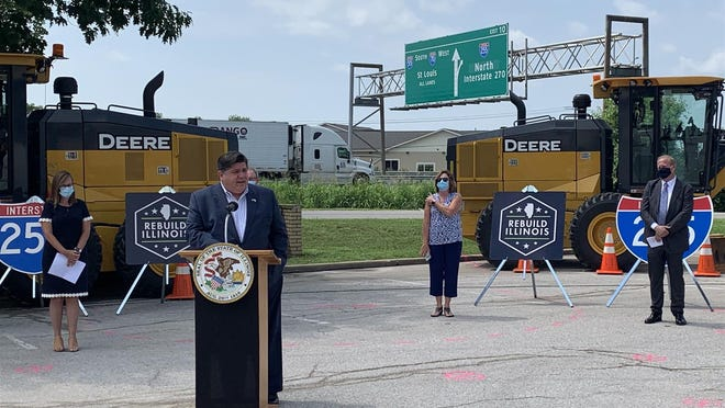 Gov. JB Pritzker speaks at a news conference Tuesday in Collinsville in unveiling the state's six-year capital infrastructure plan. Each year IDOT unveils its multi-year plan, and this year's did not take into account anticipated revenue losses resulting from the COVID-19 pandemic, according to a summary of the plan.