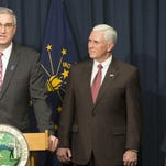 Eric Holcomb (left), nominated for Lt. Governor, Governor Mike Pence, and Lt. Governor Sue Ellspermann, Indiana Statehouse, Indianapolis, Tuesday, Feb. 9, 2016.