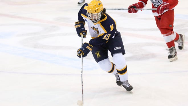 Port Huron Northern junior Corey Easton breaks away with the puck during the Larry Manz Holiday Hockey Tournament Friday, November 27, 2015 at McMorran Arena.
