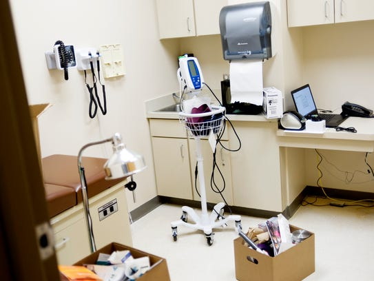 Supplies sit in an exam room at the Knox County Health
