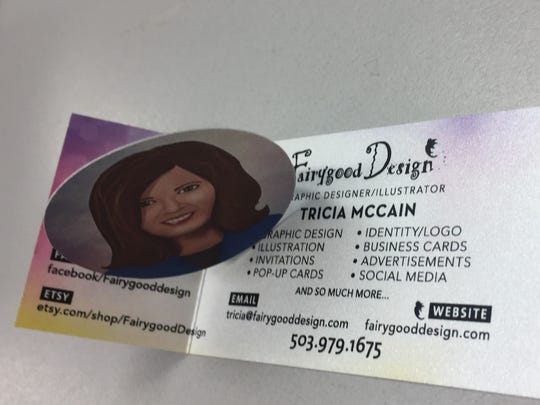 Creative business card for Tricia McCain, Fairygood Design, Stayton.
