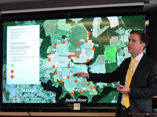 Chris Bason, executive director at the Delaware Center for the Inland Bays, presented a report outlining contamination concerns linked to Mountaire Farms' Millsboro-area chicken processing plant.