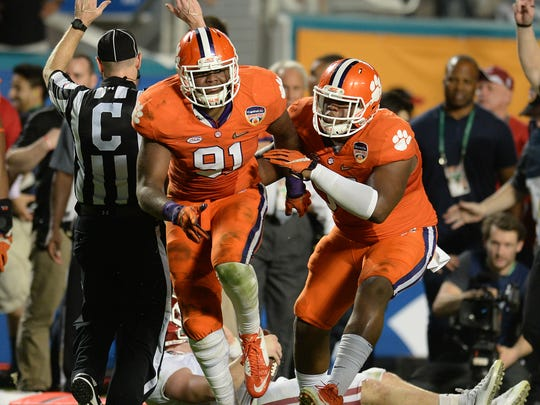 Clemson defensive lineman Austin Bryant (91) during the 3rd quarter of the Orange Bowl Thursday, December 31, 2015 at Sun Life Stadium in Miami Gardens, Fla.