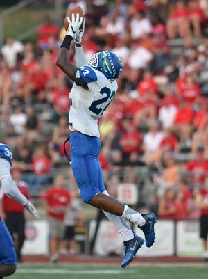 Christopher Oats intercepts a Griffin Merritt pass for Winton Woods Friday, September 22nd at LaSalle High School