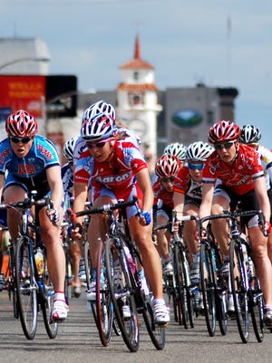 Professional woman riders turn on corner three at Main and Stevenson Street during the Sequoia Cycling Classic held March 16, 2008 in Visalia. After a six-year hiatus, the event is set to run again on April 26, 2015.