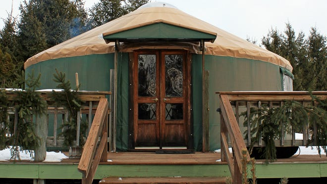 The yurt at the Namekagon Waters Retreat is 24 feet in diameter and made of a wooden lattice frame and rafters wrapped with a heavy, vinyl tarp. Kathy and Jim Shattuck built the structure on their property in Trego using a kit from Pacific Yurts.