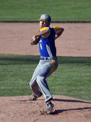 Lamoille starter Nick Fitzgerald delivers a pitch during