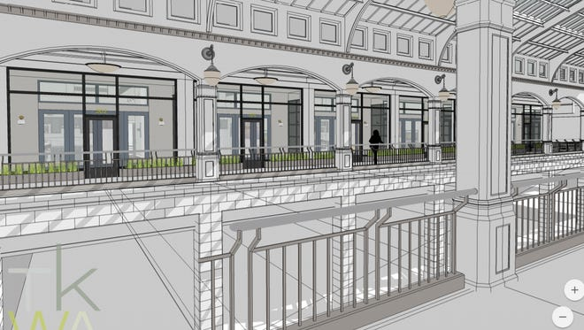 The apartments under development at the Grand Avenue's Plankinton Arcade will include some units with private entrances that mimic restored storefronts on the second-floor atrium.