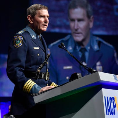 "This Monday, Oct. 17, 2016 photo provided by the International Association of Chiefs of Police shows Terrence Cunningham, president of the International Association of Chiefs of Police talking during the group's annual conference in San Diego, Calif. Cunningham on Monday apologized for historical mistreatment of minorities, calling it a ""dark side of our shared history"" that must be acknowledged and overcome. (International Association of Chiefs of Police via AP)"