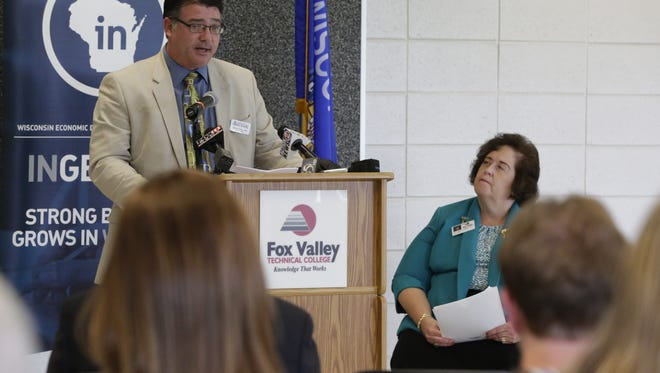 Eric Fowle, executive director of the East Central Wisconsin Regional Planning Commission, spoke about Initiative 41 and the $3.1 million federal grant the group received Tuesday, Aug. 23, 2016, at Fox Valley Technical College — Oshkosh Riverside Campus. The grant will help support the collaborative effort to strengthen and diversify the economy in the region.