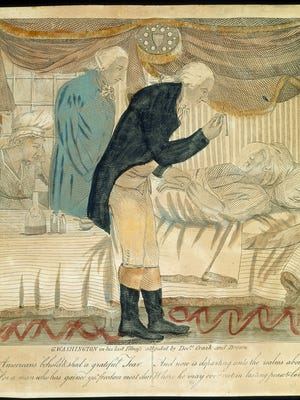 """A copy of the 19th-century etching titled """"George Washington in His Last Illness attended by Docrs. Craik and Brown,"""" is one of the illustrations from the traveling exhibit """"Every Necessary Care and Attention: George Washington and Medicine,"""" which will be on display at the Fond du Lac Public Library from Dec. 21 through Jan. 31."""