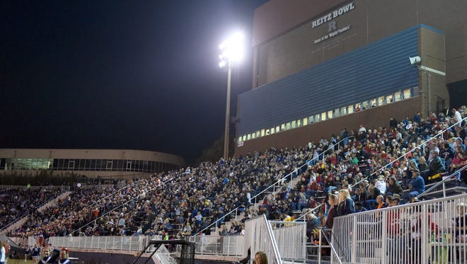 The Reitz bowl continues to fill up with football fans before the start of the Reitz and Mater Dei football game.