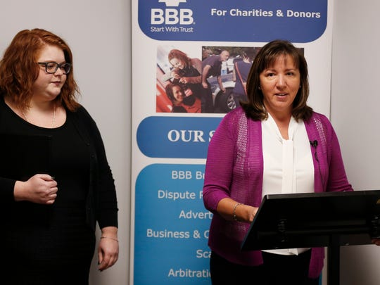 Better Business Bureau's St. Louis office CEO, Michelle Corey, talks about the Missouri timeshare industry at a press conference on Tuesday, July 24, 2018.