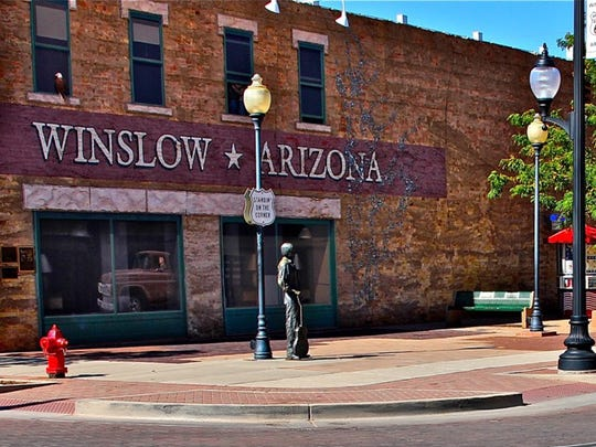 """You are at the epicenter of the state's pop-culture coolness, thanks to Winslow's prominent mention in the Eagles' hit, """"Take It Easy."""""""
