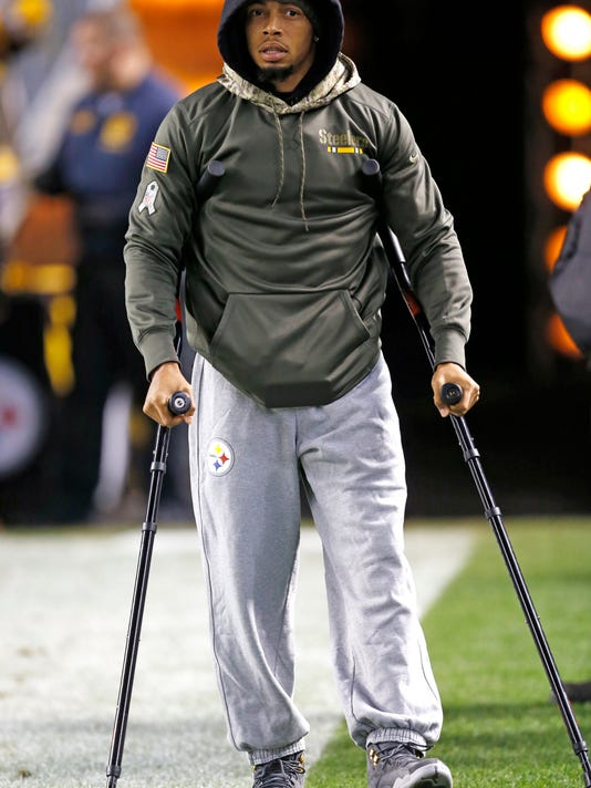 FILE - In this Nov. 16, 2017, file photo, Pittsburgh Steelers cornerback Joe Haden walks with crutches before an NFL football game against the Tennessee Titans in Pittsburgh. Haden could be ready this weekend after missing more than a month with a fractured left leg. (AP Photo/Keith Srakocic, File)
