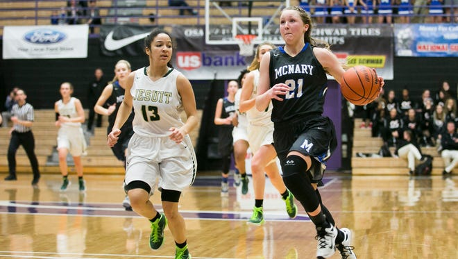 McNary's Madi Hingston (21) was a first-team all-tournament selection for the Celtics.