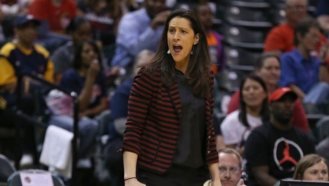 Indiana Fever head coach Stephanie White reacts to an abundance of foul calls against the Fever in the second quarter during an Indiana Fever game against Phoenix Mercury, Banker's Life Fieldhouse, Indianapolis, Wednesday, May 18, 2016.