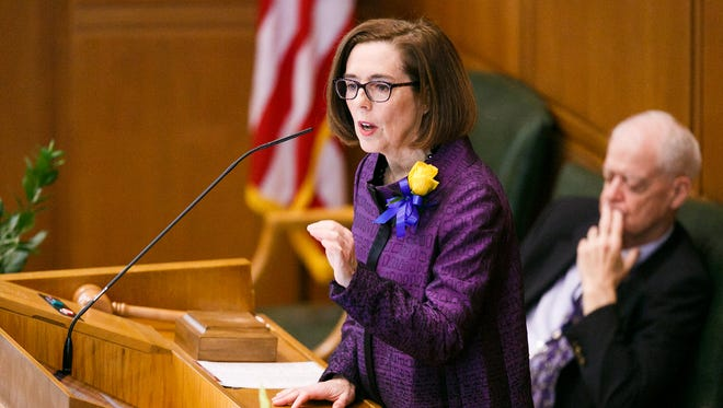 Gov. Kate Brown delivers the State of the State address on Monday, Feb. 5, 2018, at the Oregon State Capitol in Salem.
