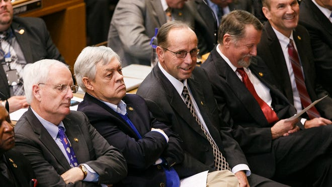 Sen. Jeff Kruse, center, at the State of the State address on Monday, Feb. 5, 2018, at the Oregon State Capitol in Salem.
