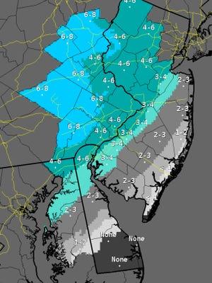 Snowfall forecast from 1 p.m. Saturday to 1 p.m. Sunday