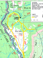 The yellow indicates trail closures due to the fire.