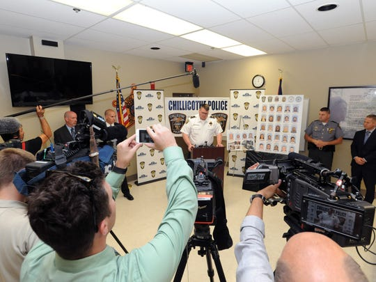 Police Chief Keith Washburn speaks during a press conference Monday, Sept. 19, 2016, at Chillicothe-Ross County Law Enforcement Complex .