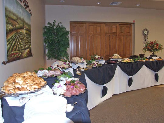 A full buffet set-up at Messinger Mortuaries kitchens