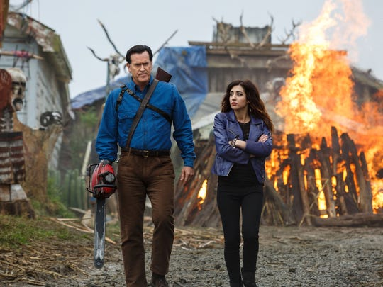 "Bruce Campbell and Dana DeLorenzo in ""Ash vs. Evil Dead."""