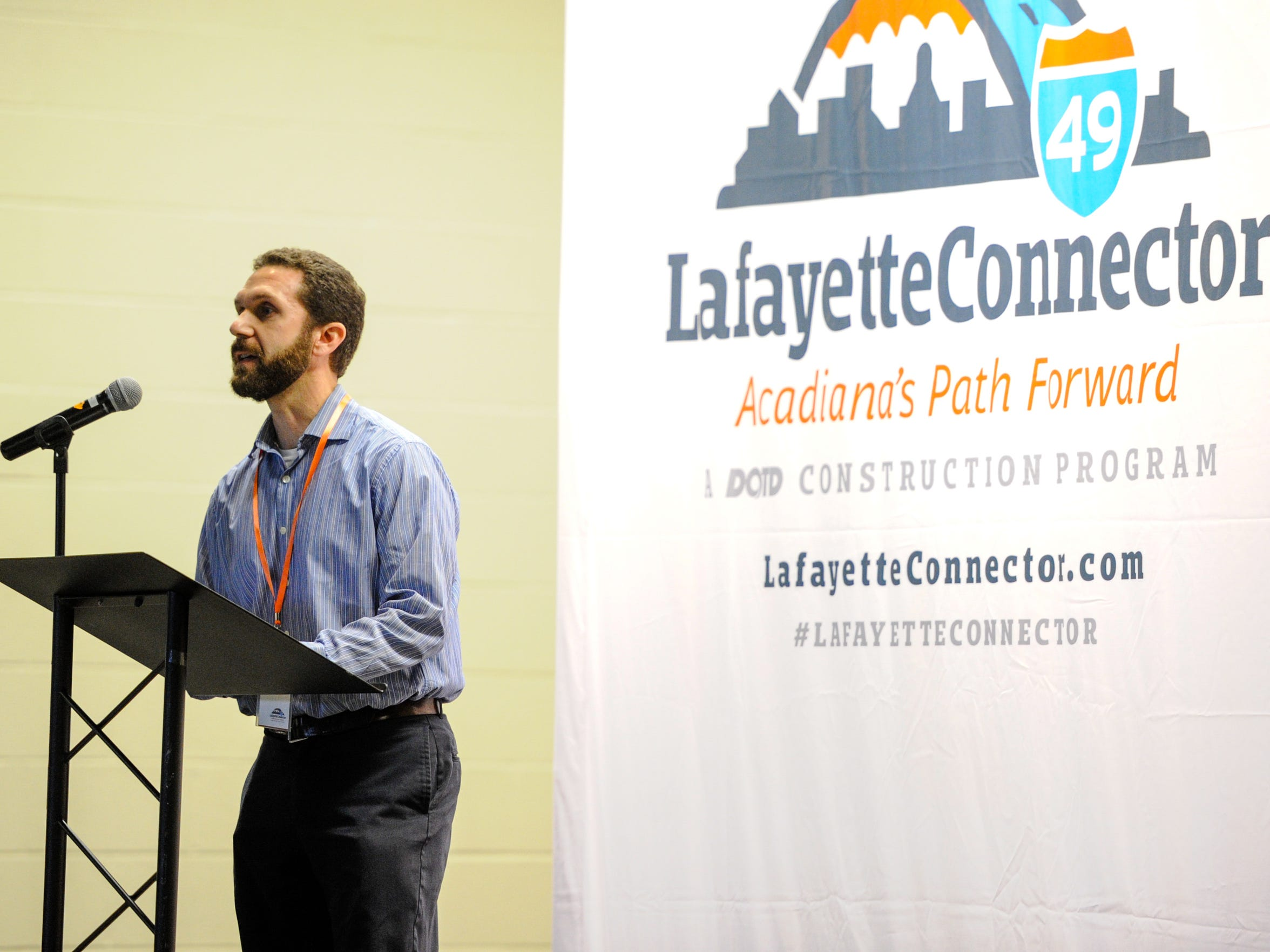 Toby Picard addresses the group as the DOTD hosted a community workshop to prepare for the planning process of the I-49 connector. Members of the community were invited to participate by engaging in conversation, learning about the proposal and helping to design the Lafayette Connector. Breakout sessions included,  placemaking, connectivity, environment and path for progress.