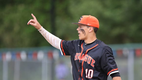 Sprague's Justin Culpepper and the Olympians fall to West Linn 5-3 in second round of OSAA 6A state playoffs on Wednesday, May 25, 2016, at West Linn High School.