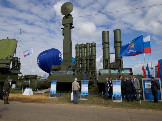 A Russian S-300 air defense missile system was on display